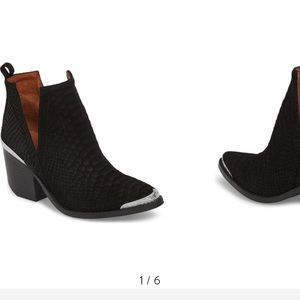 WORN ONCE—Black suede ankle boots